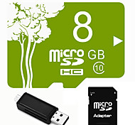 Plant Theme 8GB Micro SD TF Card  with SD SDHC Adapter and Multi-function OTG USB Card Reader