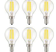 4W E14 E12 E26/E27 Lampadine LED a incandescenza G45 4 COB 400 lm Bianco caldo Intensità regolabile Decorativo AC 220-240 AC 110-130 V6