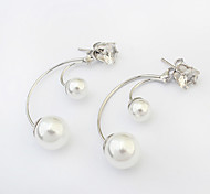 Stud Earrings Pearl Imitation Pearl Alloy Fashion Silver Jewelry 1 pair