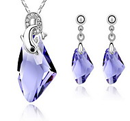 Jewelry Set Crystal Alloy Gold Purple Yellow Blue Party 1set 1 Necklace 1 Pair of Earrings Wedding Gifts