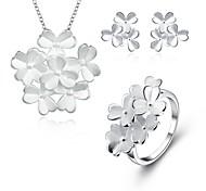 Бижутерия Медь Серебрянное покрытие Серебряный 1 ожерелье 1 пара сережек Кольца Для Свадьба Повседневные 1 комплект Свадебные подарки