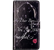 For HUAWEI P9 P8 Lite 5X 5C Y5II Y6II Case Cover Red Lips Girl Pattern Painting Card Stent PU Leather Phone Case