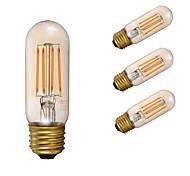 3.5 E26 Bombillas de Filamento LED T 4 COB 300 lm Ámbar Regulable Decorativa AC 110-130 V 4 piezas