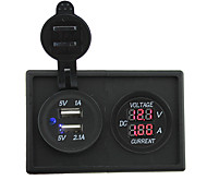 12V/24V 3.1A dual USB socket and led current meter with housing holder panel for car boat truck RV