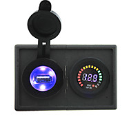 12V led digital display voltmeter and 2.1A USB adapter with housing holder panel for car boat truck RV