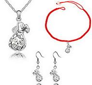 Kristall Aleación Gold Silber 1 Halskette 1 Paar Ohrringe 1 Armreif Für Party 1 Set Hochzeitsgeschenke