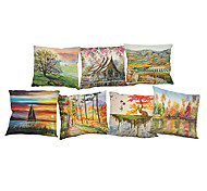 Set of 7  Landscape painting pattern Linen Pillowcase Sofa Home Decor Cushion Cover