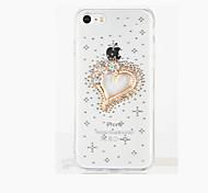 Per Con diamantini Fai da te Custodia Custodia posteriore Custodia Con cuori Resistente PC per Apple iPhone 7