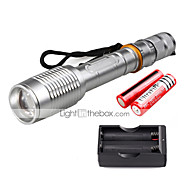 U'King ZQ-X1020S#-US CREE XML T6 2000LM Zoomable 5Modes Flashlight Torch Kit with Batteries and Battery Charger