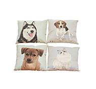 Set of 4 pet  pattern Linen Pillowcase Sofa Home Decor Cushion Cover