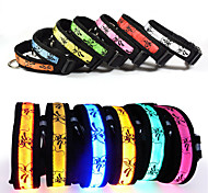 Cat Dog Collar Reflective LED Lights Adjustable/Retractable Electronic/Electric Strobe/Flashing Safety Batteries Included Cartoon Rainbow