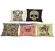 Set of 5Creative skull  pattern Linen Pillow Case Bedroom Euro Pillow Covers 18x18 inches  Cushion cover