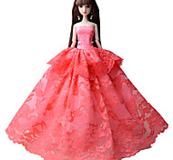 Party/Evening Dresses For Barbie Doll Pink Lace Dresses For Girl's Doll Toy