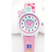 KEZZI Kids' Fashion Watch Wrist watch Cartoon Japanese Quartz PU Band Casual White Blue Pink Purple Strap Watch
