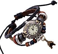Unisex Bracelet Watch Quartz Genuine Leather Band Brown Brand