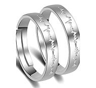 Кольца Свадьба Для вечеринок Особые случаи Бижутерия Платиновое покрытие Кольца для пар 1 пара,Регулируется Серебряный