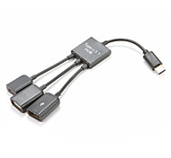 3 in 1 USB 3.1 Type C Hub Adapter to 2 Port USB Hub 1 Micro USB Port for Windows XP 7 8
