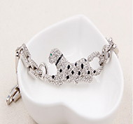 Men's Chain Bracelet Crystal Simulated Diamond Alloy Natural Fashion Round Silver Jewelry 1pc