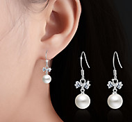 Imitation Pearl Drop Earrings Jewelry Wedding Party Daily Casual Pearl Alloy 1 pair Silver