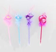 Optical Fiber/Plastic/Feather Handmade Rose Craft BallPoint Pen For Valentine's Day Festive Gift