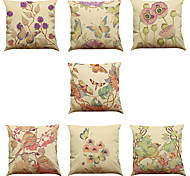 Set of 7 Hand-painted vine Linen  Cushion Cover Home Office Sofa Square  Pillow Case Decorative Cushion Covers Pillowcases