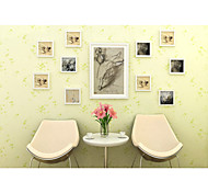 Environmental Protection PVC Wallpaper Of The Sitting Room The Bedroom Waterproof Adhesive Wallpaper Light Green Flower