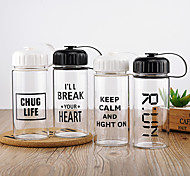 Minimalism Transparent Drinkware, 300 ml Portable Leak-proof Glass Coffee Milk Water Bottle