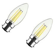 2pcs 4w b22 / e27 светодиодные лампы накаливания c35 4cob 300-400 lm теплый белый диммируемый ac 220-240 / 110-130 v
