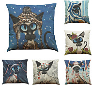 Set of 6 Painting dog  pattern   Linen Pillowcase Sofa Home Decor Cushion Cover (18*18inch)