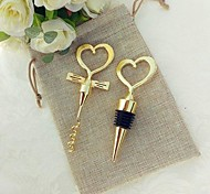 2pcs/bag Sweetheart Bottle Stopper and Bottle Corkscrew in Rustic giftbag Beter Gifts® Practical Door Gifts
