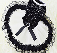 The New Spring And Summer Dress Pet Dog Clothes Black Diamond Skirt