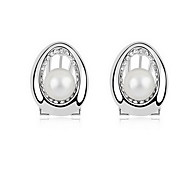 Stud Earrings Pearl Pearl Alloy Natural Fashion Jewelry White Black Dark Blue Gray Copper Jewelry Daily 1 pair