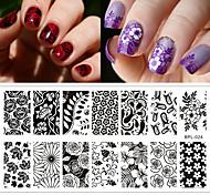 цветок тема ногтей штамп шаблон изображения пластина rctangular штамповки пластин родилась довольно BP-l024 12,5 х 6,5 см