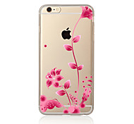Para Transparente Estampada Capinha Capa Traseira Capinha Flor Macia TPU para AppleiPhone 7 Plus iPhone 7 iPhone 6s Plus/6 Plus iPhone