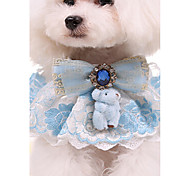 Pet Jewelry Lace High End Bear Pet Pet Towel Pink And Blue