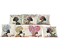 Set of 7 Floral girl pattern  Linen  Cushion Cover Home Office Sofa Square  Pillow Case Decorative Cushion Covers Pillowcases