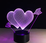 3D Led Night Light 7 Color Changing Piercing Heart Creative Remote Control Or Touch Switch Led Decorate Lamp As Gift