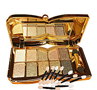 10 Colors Glitter Eye Shadow And 10pcs Eye Shadow Brush  Diamond Bright Makeup Palette Professional Natural Cosmetic