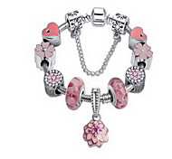 Chain Bracelet Crystal Simulated Diamond Natural Fashion Jewelry Pink Jewelry 1pc