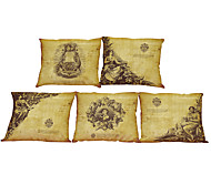 Set of 5 Retro poster  pattern  Linen Pillow Case Bedroom Euro Pillow Covers 18x18 inches  Cushion cover