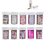 New 100Designs Nail Art Transfer Foil Paper 10pcs + 1pcs Nail Foil Glue (from #21 to #30)