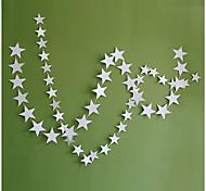 raylinedo® 1 Stück 4 Meter Silber Papiergirlande für Hochzeit Geburtstag Party Weihnachten Mädchen Raumdekoration Sterne Form 10 * 10cm