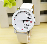 Unisex Watch Women's Men's Watch Fashion Watch Quartz Leather Band Charm Casual Word Watch Black White