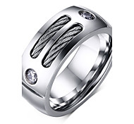 Ring Fashion Steel Circle Round Silver Jewelry For Daily 1pc