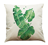 Set of 5 Hand Painted Banana Leaf Pattern  Linen Pillowcase Sofa Home Decor Cushion Cover (18*18inch)