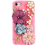 For Rhinestone DIY Case Back Cover Case Stereo Pearl Handmade Flower Hard Plush with PC Material for Apple iPhone 7 7 Plus 6s 6 Plus