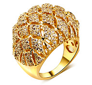 Women Party Cocktail Rings Dome Shape Pierced 21 mm Wide Rhodium or Gold-color Synthetic Cubic Zirconia Paved Lead Free