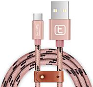 torras® USB 3.0 Type C Braided Cable For Samsung Huawei Sony Nokia HTC Motorola LG Lenovo Xiaomi 150 cm Nylon Aluminum TPE