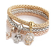 Bohemia Punk Birthday Gift Skeleton Diamond Pendant Three - color Bracelet Valentine Gift Gold1pc
