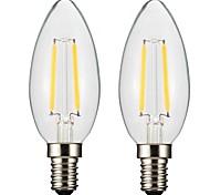 2W E14 E12 Lampadine LED a incandescenza CA35 2 COB 300 lm Bianco caldo Intensità regolabile AC 220-240 AC 110-130 V 2 pezzi